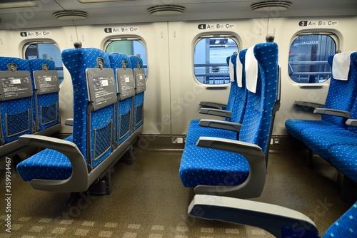 Fotografija blue train seats with nobody