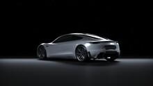 Back Light Electric Sports Car 3d Render In Black Background. Tesla Roadster 2020 White Car Paint