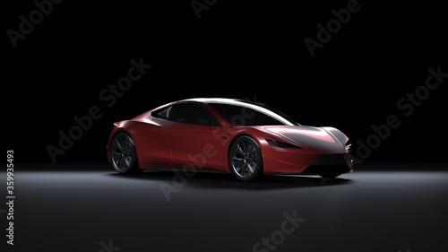 Tablou Canvas Back Light Electric Sports Car 3d Render in Black Background