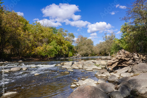 Canvas Print Shallow creek in an autumn afternoon