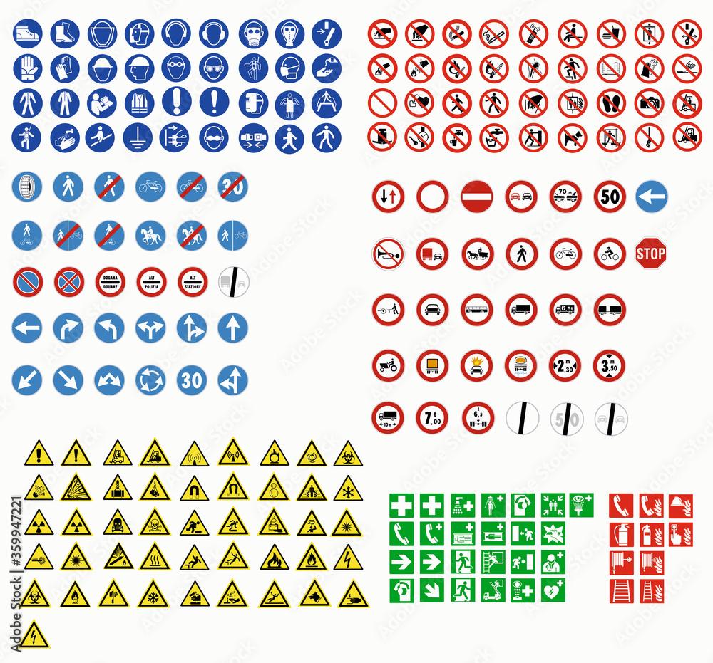 Fototapeta ISO 7010 SIGN WARNING SET SYMBOL SAFETY