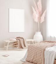 Mockup Frame In Pastel Pink Be...