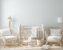 Cozy Light Blue Nursery With N...
