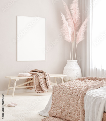 Mockup frame in pastel pink bedroom interior background, Scandi-Boho style, 3d render