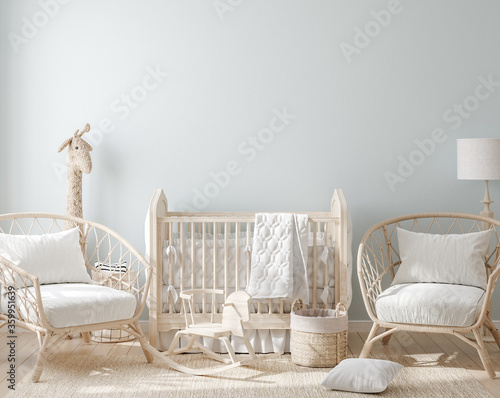 Fotografia Cozy light blue nursery with natural wooden furniture, 3d render