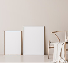 Mock Up Frame For Two Wooden Posters In Minimal Interior, Wooden Chair On Beige Background