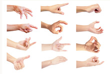 Close Up Multiple Hand In Gestures Of Man And Woman With Old Woman Isolated On White Background