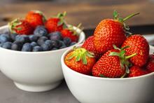 Fresh Ripe Strawberry And Blue...