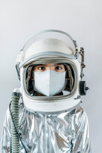 Boy Wearing Space Suit And Protective Mask