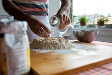 Crop View Of Man In Kitchen Pr...