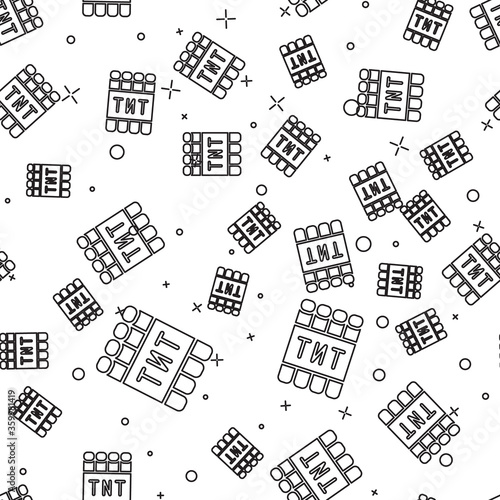 Papel de parede Black line Detonate dynamite bomb stick and timer clock icon isolated seamless pattern on white background