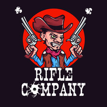 Cowboy Holding Two Revolvers, ...