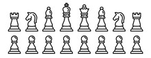 Chess Icons Set. Outline Set Of Chess Vector Icons For Web Design Isolated On White Background