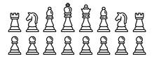 Chess Icons Set. Outline Set O...
