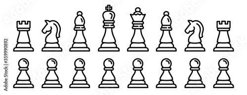 Obraz Chess icons set. Outline set of chess vector icons for web design isolated on white background - fototapety do salonu