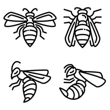 Wasp Icons Set. Outline Set Of...
