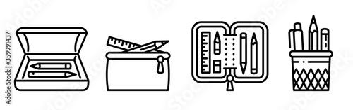 Fotografía Pencil case icons set