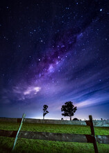 The Milky Way Core Over A Farm
