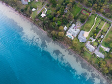 Top Down Perspective On Luxury Waterfront Properties In Eraring, NSW
