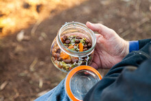 Trail Mix Snack In A Jar At Picnic