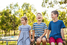 Three Happy Children Laughing ...