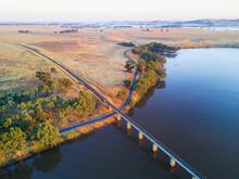 Aerial View Of A Railway Bridg...