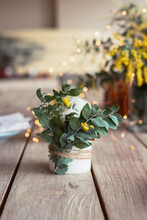 Table Decor With Wattle Leaf