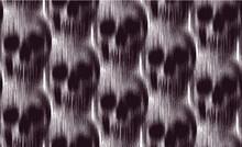 Vector Seamless Pattern Of Vertical Motion Blur Smear Black Skull On White Background.