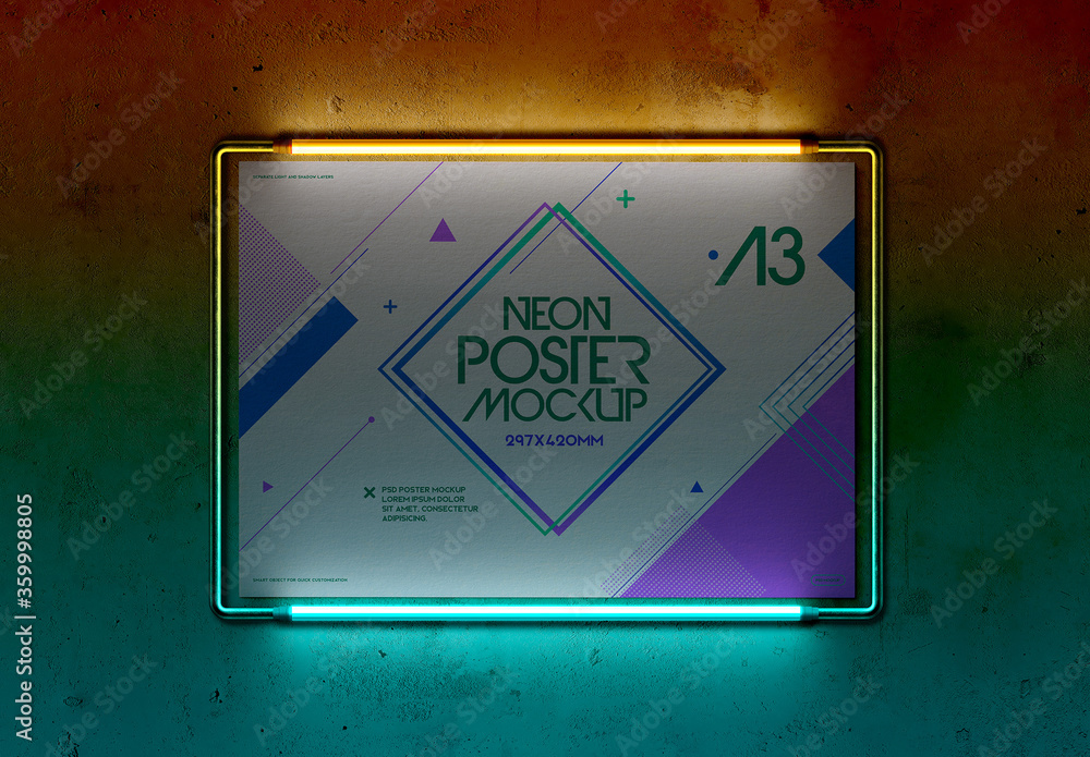 Fototapeta Metal Frame Poster with Neon Lights Mockup