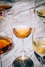 Close Up Shot Of Wine Glasses ...