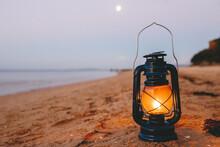 Kerosene Lamp On The Beach At ...