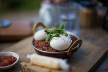 Poached Eggs Shakshouka In Cafe