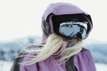 Young Blond Woman Wearing Ski ...
