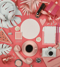 Pretty Pink Party Flat Lay Wit...