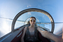Female Taking Selfie While Flying In A Glider