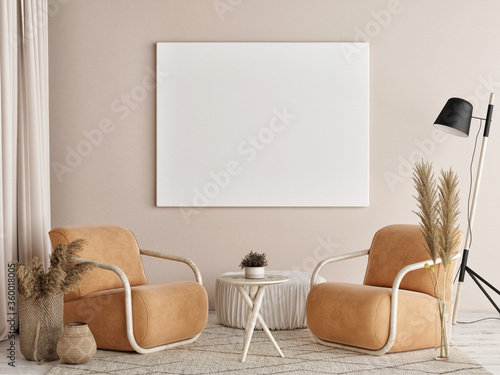 Obraz Mockup poster in Living room, natural colors background, 3d render, 3d illustration - fototapety do salonu