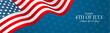 July 4th USA flag banner or header. United States of America Independence Day holiday design with lettering. Vector illustration.