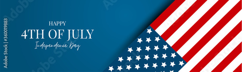 4th of July USA flag banner or header. United States of America Independence Day holiday design with lettering. Vector illustration.