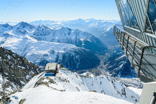 Fotomural View of Aosta Valley, Italy, from Helbronner peak located at the end of the famo