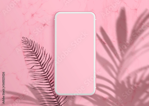 Realistic Modern Smartphone On Pastel Pink Background Mock Up For Game Design Mobile Application Wallpapers Websites Plant Shadows Buy This Stock Photo And Explore Similar Images At Adobe Stock Adobe Stock