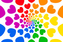 Background Of Rainbow Heart Sh...