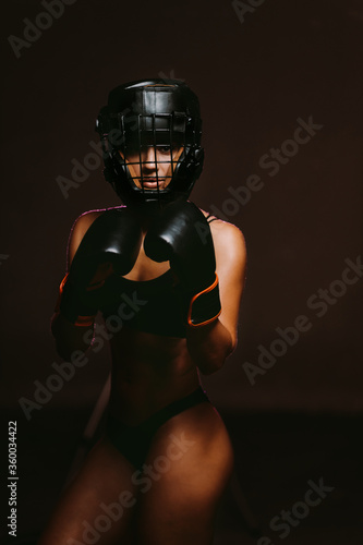 sexy woman boxer mma ufc fighter in boxing gloves фототапет