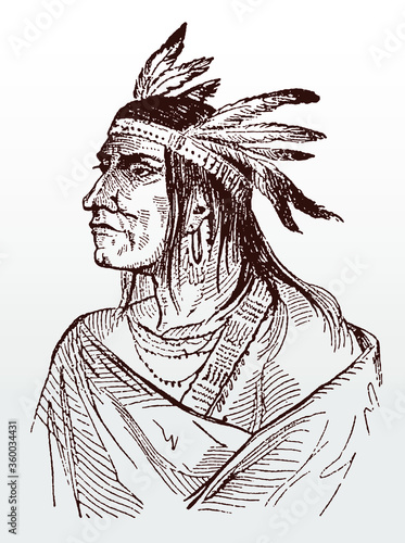 Photo Portrait of historic Native American Shawnee warrior and chief Tecumseh after an