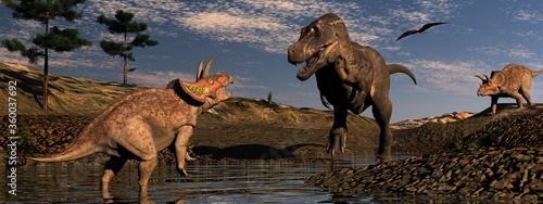Fototapeta Dinosaur scenery with tyrannosaurus and triceratops by sunset - 3D render
