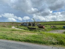 Old Farm Machinery, And Buildings, On The Moors Above, Cowling, Keighley, UK