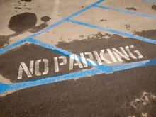 No Parking Stencil Print On Th...