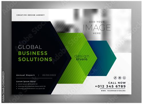 Photo professional brochure presentation template in geometric arrow style