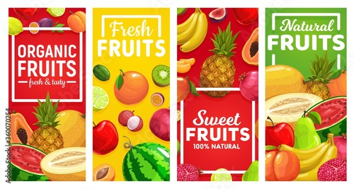 Ripe fruits vector vertical banners. Tropical fruits farm lime and lemon, maracuya, watermelon and melon, pineapple and banana, lychee, pomegranate, kiwi and papaya, peach and orange #360070254