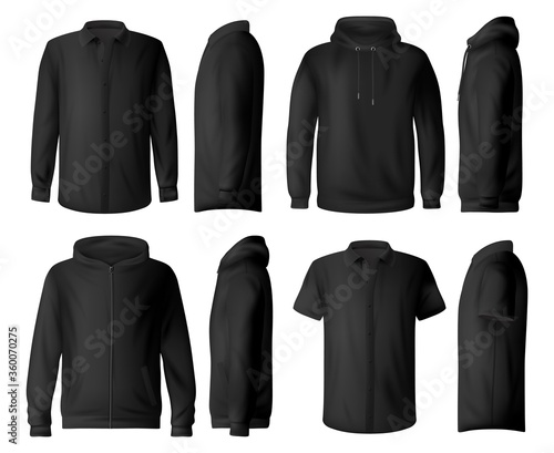 Man casual clothes, wear vector mockup set. Classic black shirt with long and short sleeves, sweatshirt, pullover and hoodie front side view realistic vector template. Everyday man clothing mock-up #360070275