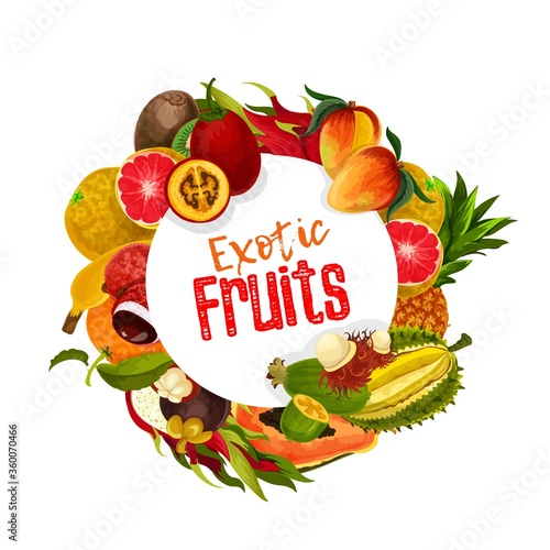 Exotic tropical fruits round vector banner. Whole and sliced tamarillo, mangosteen and rambutan, durian and pineapple, papaya, feijoa and mango, lychee, pomelo, orange and grapefruit, kiwi #360070466